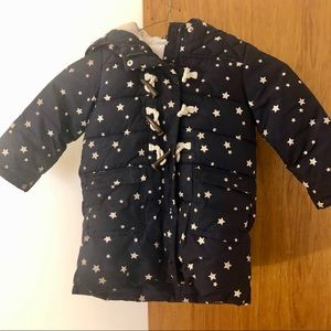 Gap Girls Puffer Jacket Stars Size 4 Years Navy